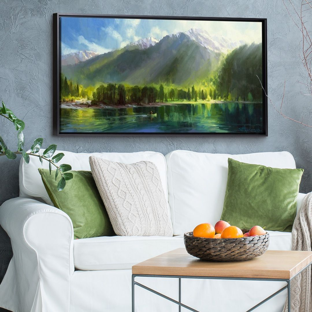 MOUNTAIN TRAIN LANDSCAPE CANVAS PICTURE PRINT WALL ART CHUNKY FRAME LARGE 1543-2
