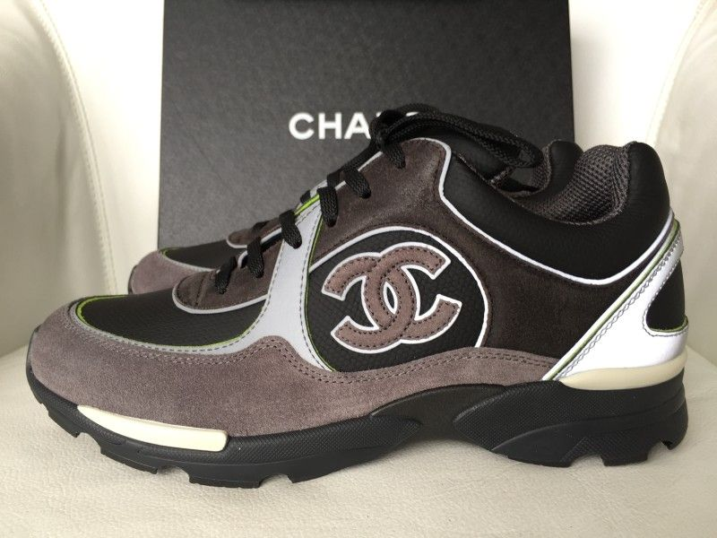 8d3004dac8d80 Chanel 2015 Sneakers/Trainers Black/Gray/Green Suede Leather Size 37.5 Gray/ Black/Green Athletic Shoes
