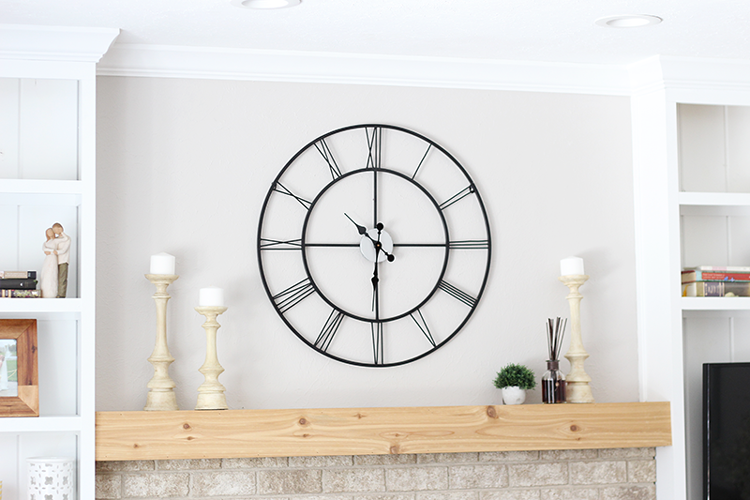 Rustic mantel with oversized clock