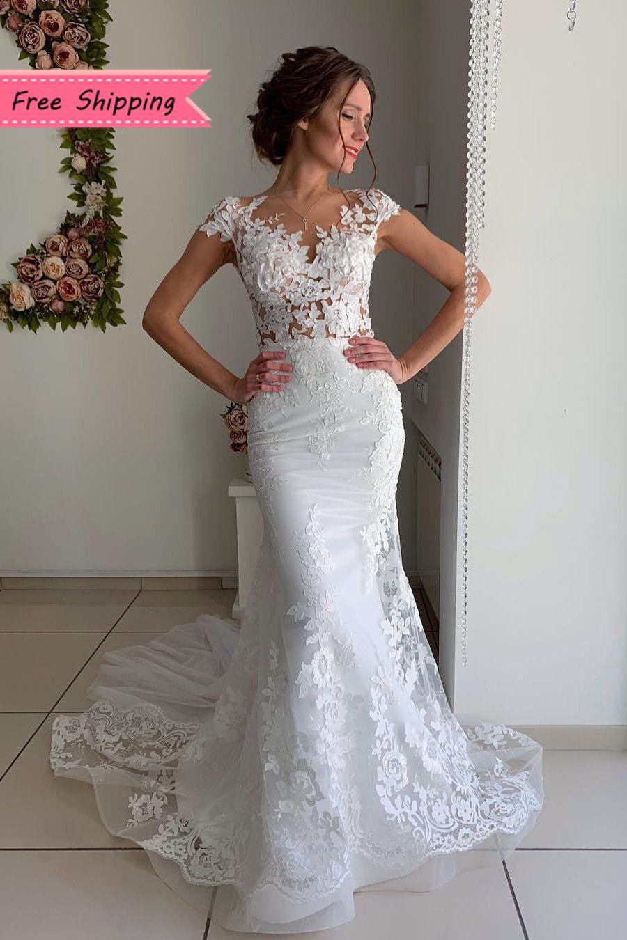 Free Shipping Cap Sleeves Appliques Mermaid Wedding Dress