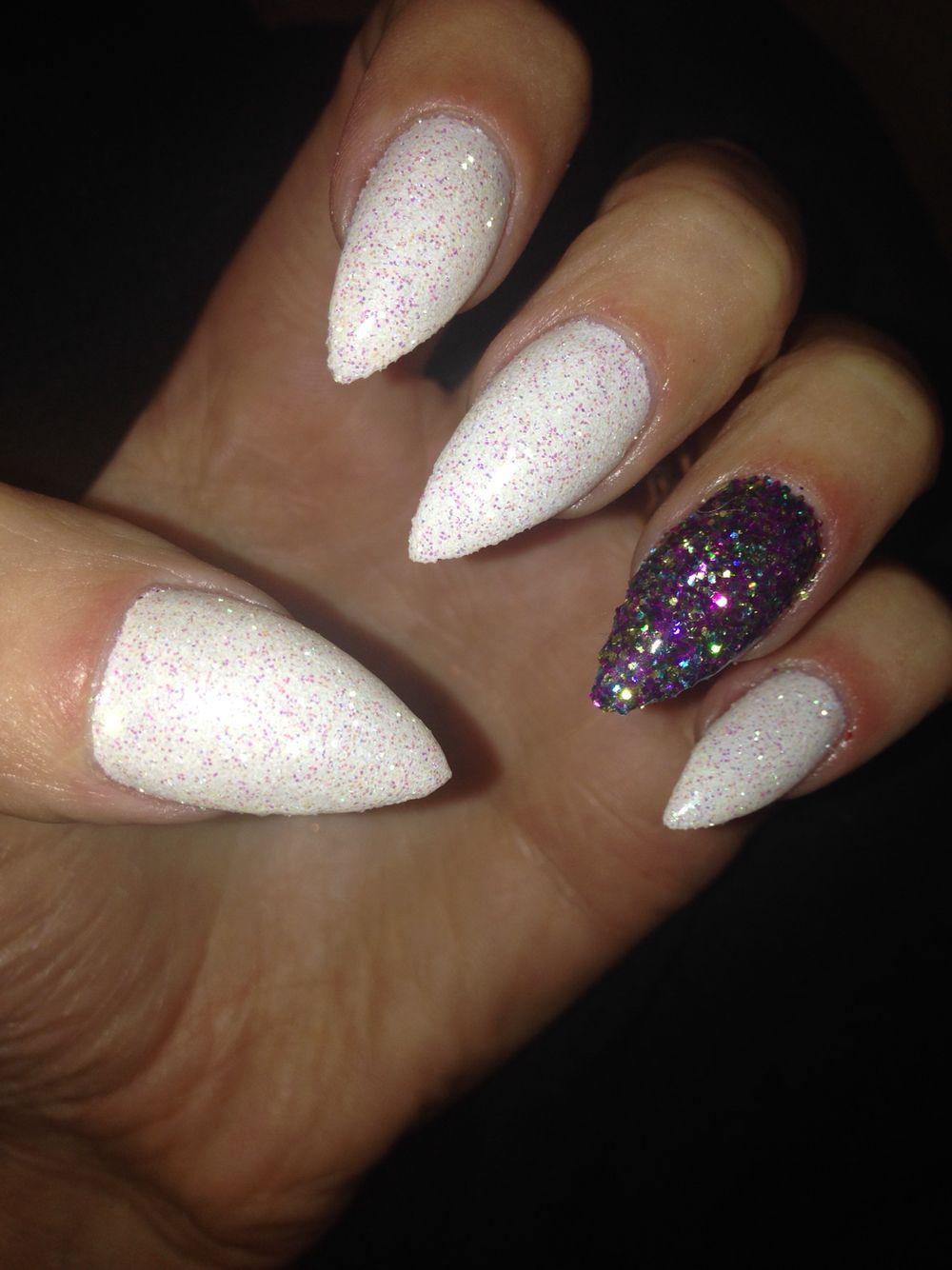 White Rockstar And Multi Glitter Rockstar Nails Nails Pinterest