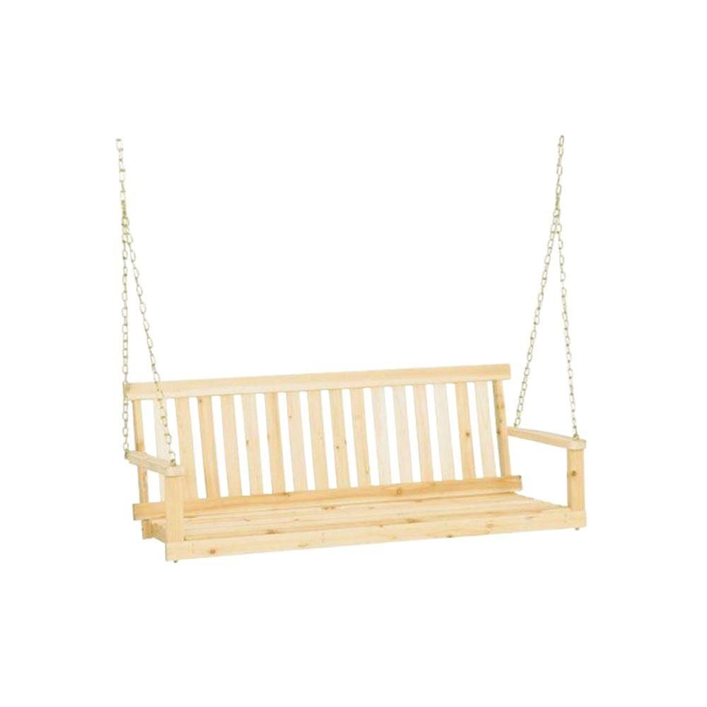 Jack Post Jennings 4 Ft Traditional Wood Porch Patio Swing Wood