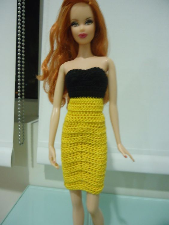 Barbie Strapless Pencil Dress Free Crochet Pattern Barbie