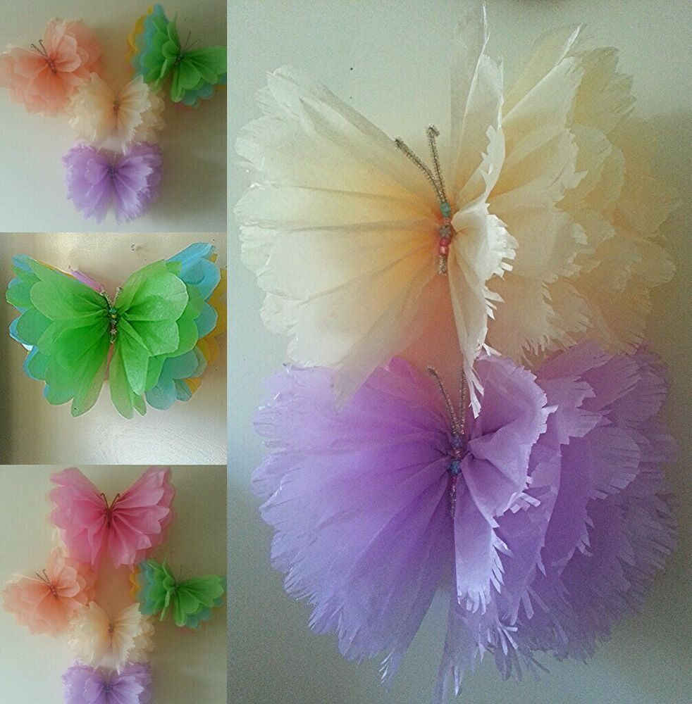 Details about Girls birthday party decorations butterfly bedroom hanging Tissue paper pom poms images