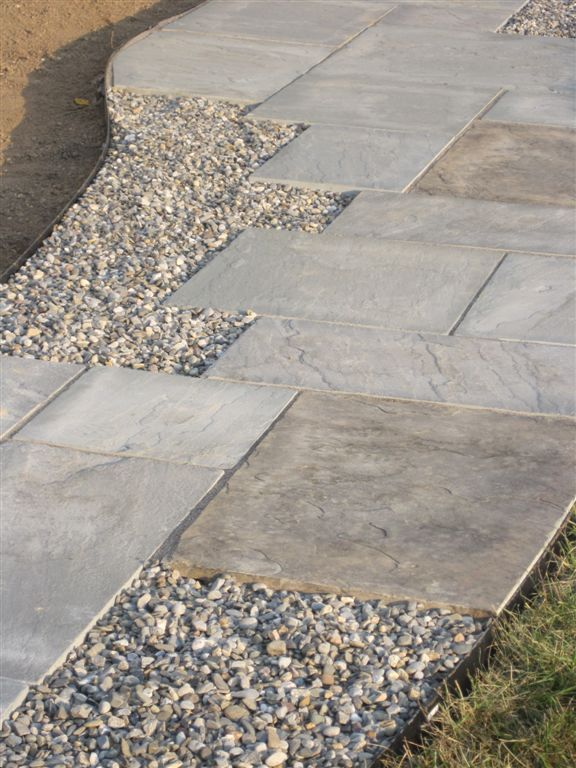 flagstone walkway with river gravel pockets | ZH Landscape Design ...