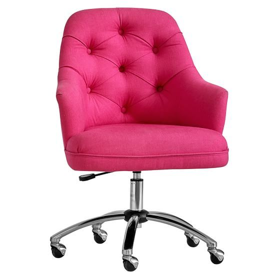 Twill Tufted Desk Chair  O F F I C E  Pinterest  Pink