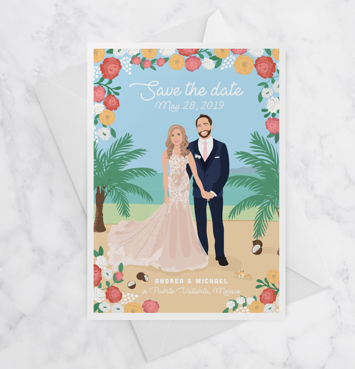 Wedding decorations at the beach january 2019 Destination Wedding Save the Date Cards  Destination wedding