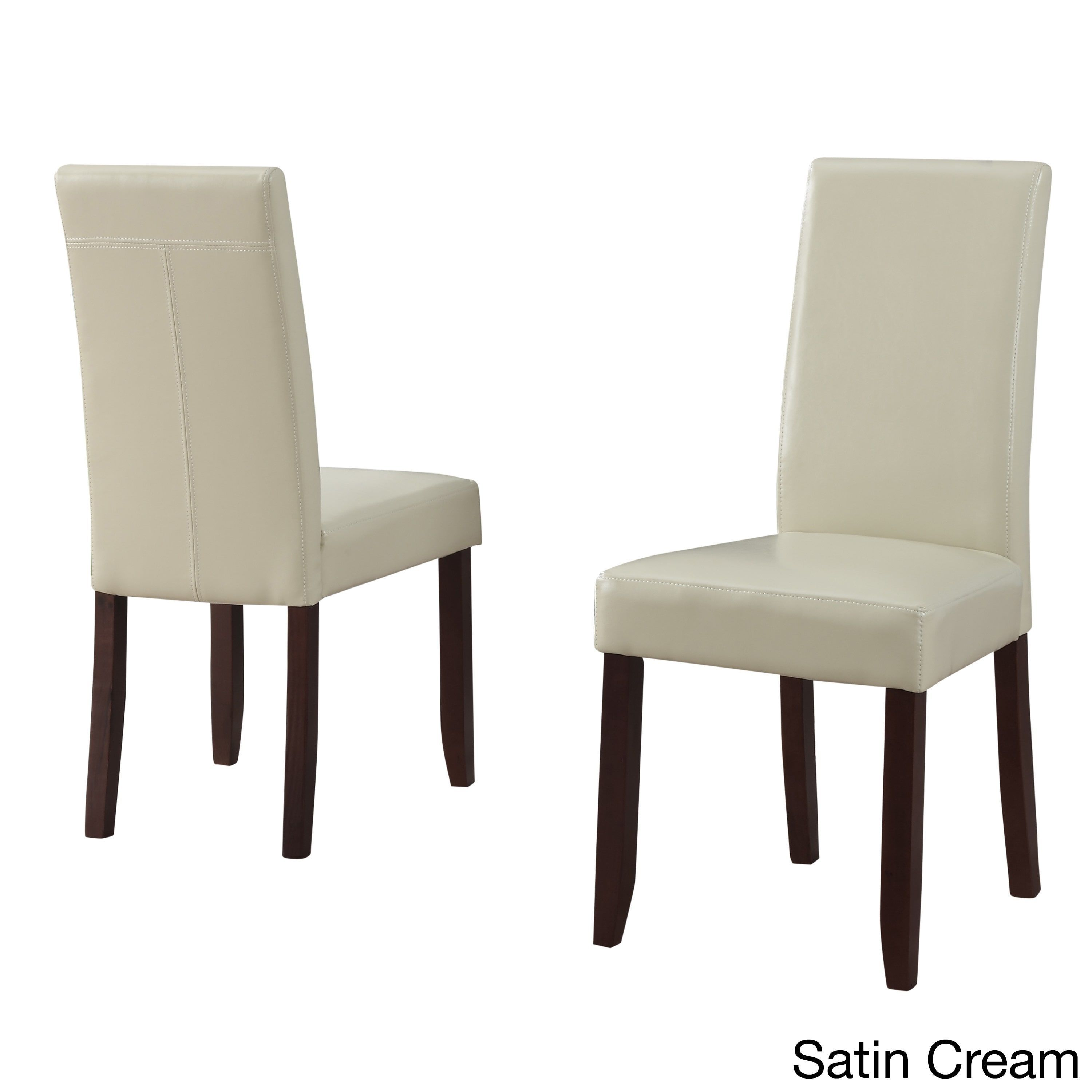 Wyndenhall Normandy Faux Leather And Wood Parson Dining Chairs Set Of 2 Satin Cream Ivory