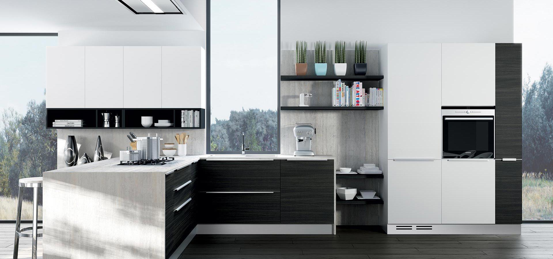 Cucina Moderna - MOON DUNA DIVA Finitura rovere grigio e laccato ...