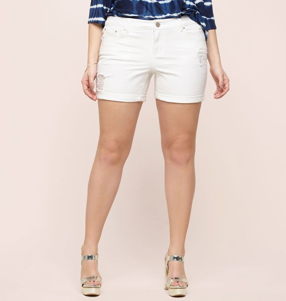 78d4e98301561 Discover destructed looks in summer styles like our new plus size  Destructed Cuff Denim Short available