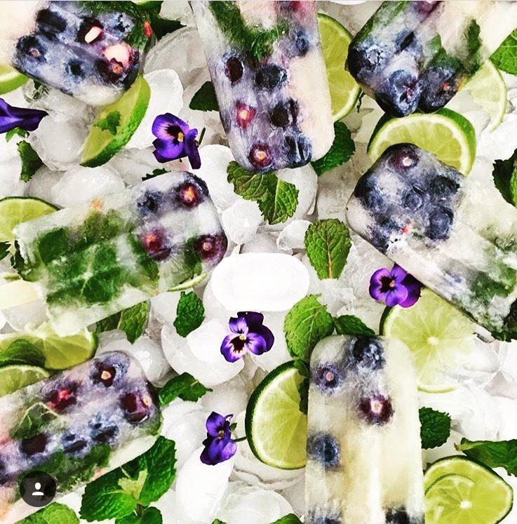 Blueberry mojito ice pops -- Sugar-free