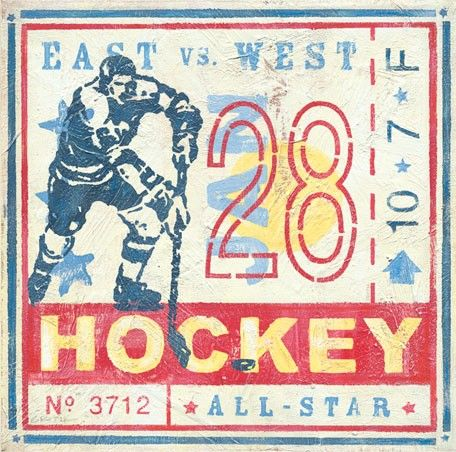 """Game Ticket - Hockey"" wall art for kids by Roger Groth for Oopsy daisy, Fine Art for Kids"