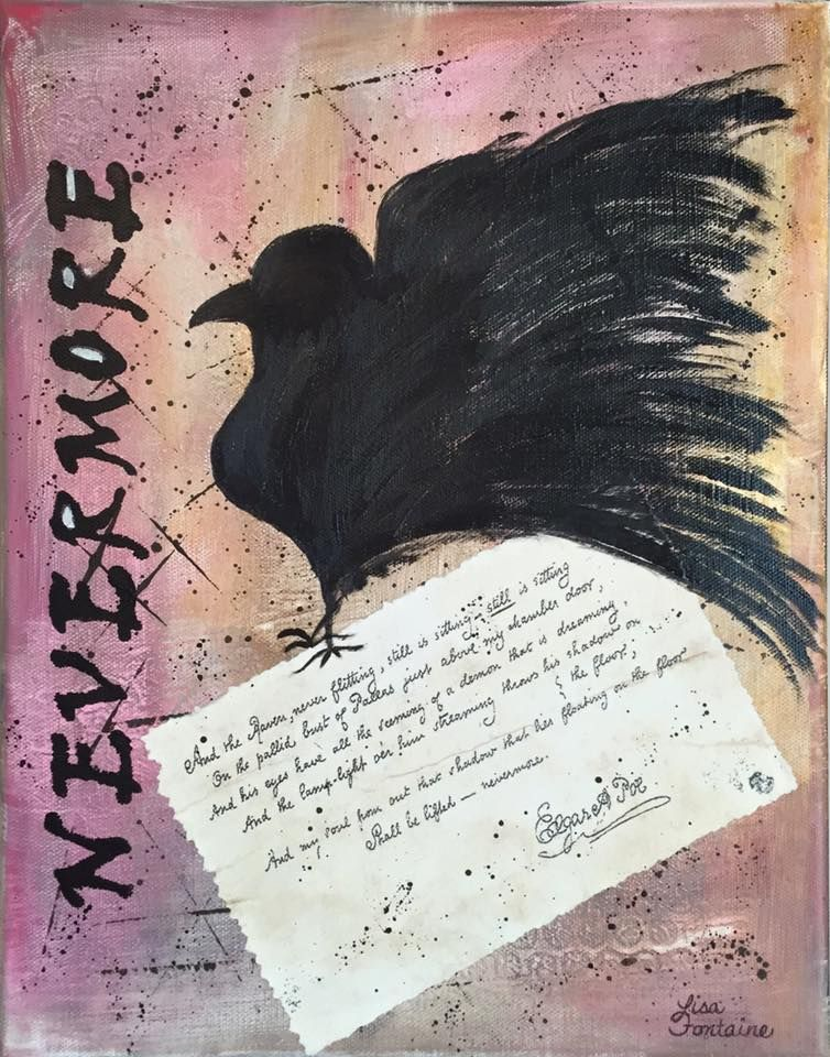 Mixed Media on Canvas by Lisa Fontaine.  The Raven.  Edgar Allan Poe.  Nevermore.