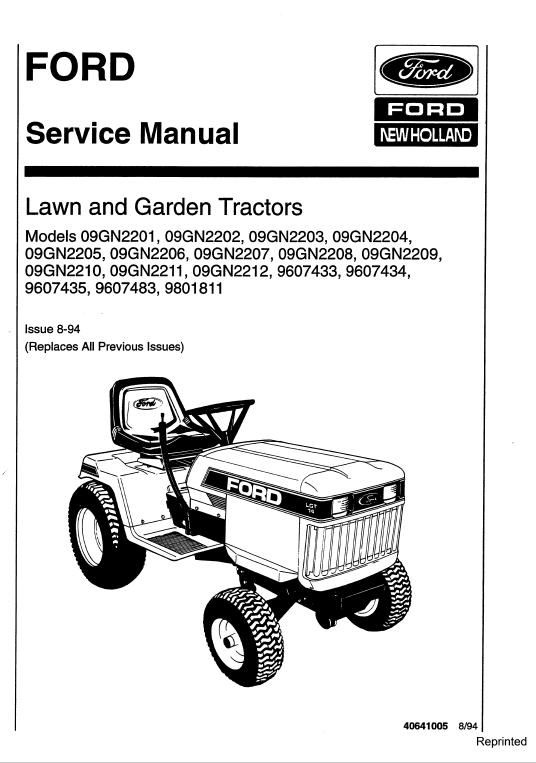 Ford LGT12, LGT14, LGT17, LGT18H Lawn Tractor Service