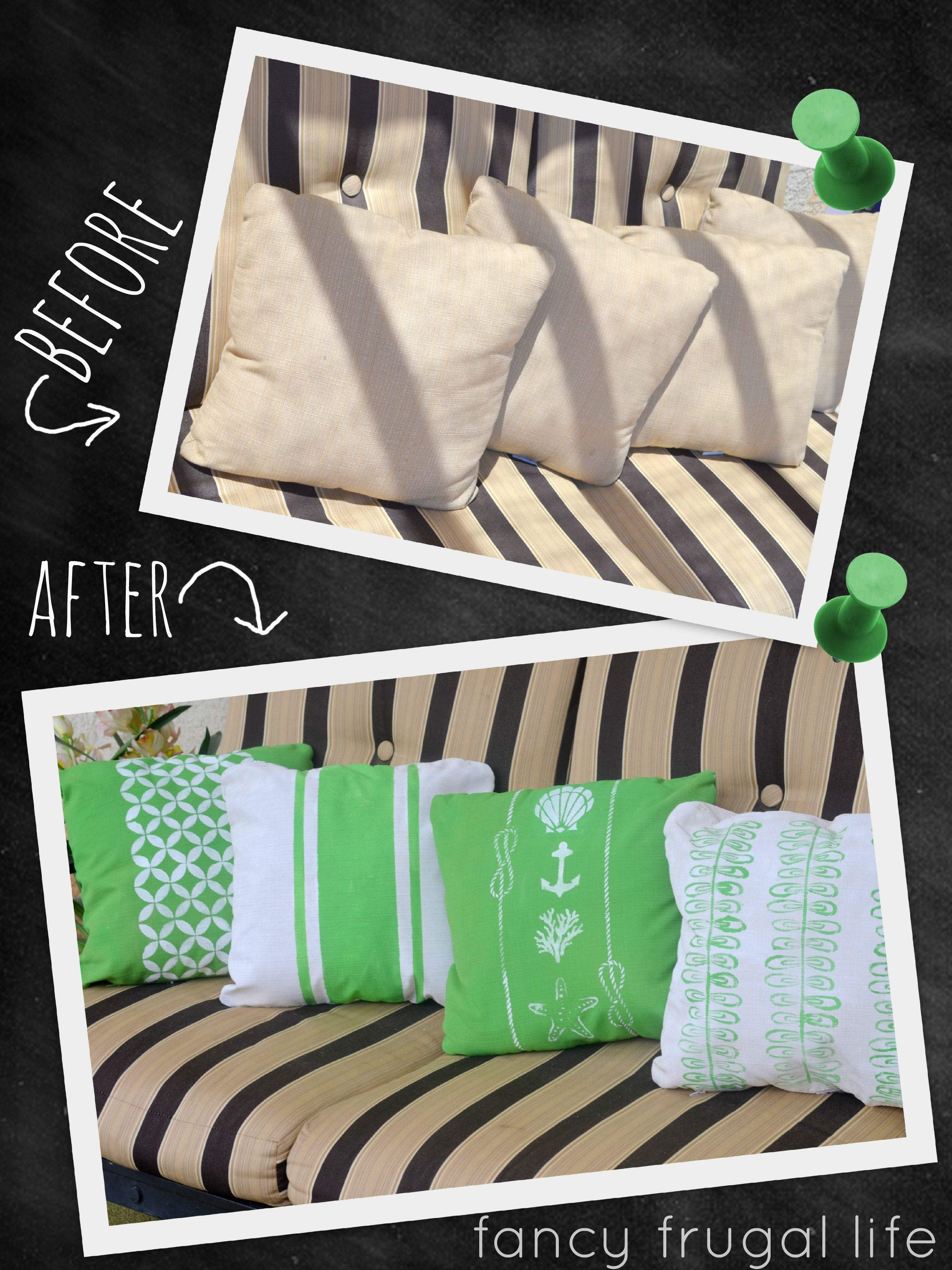 Before After Outdoor Pillow Makeover Using Chalk Paint