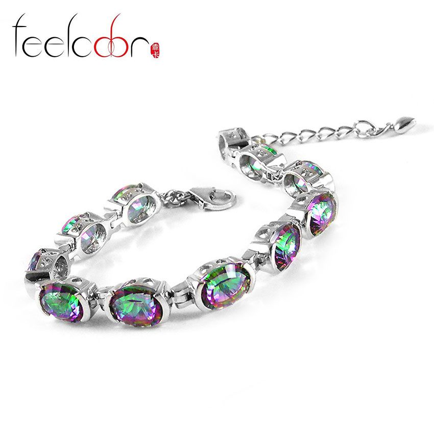 Feelcolor 20ct Fashion Genuine Natural Fire Rainbow Mystic Topaz Luxury Bracelets Tennis For Women Solid 925