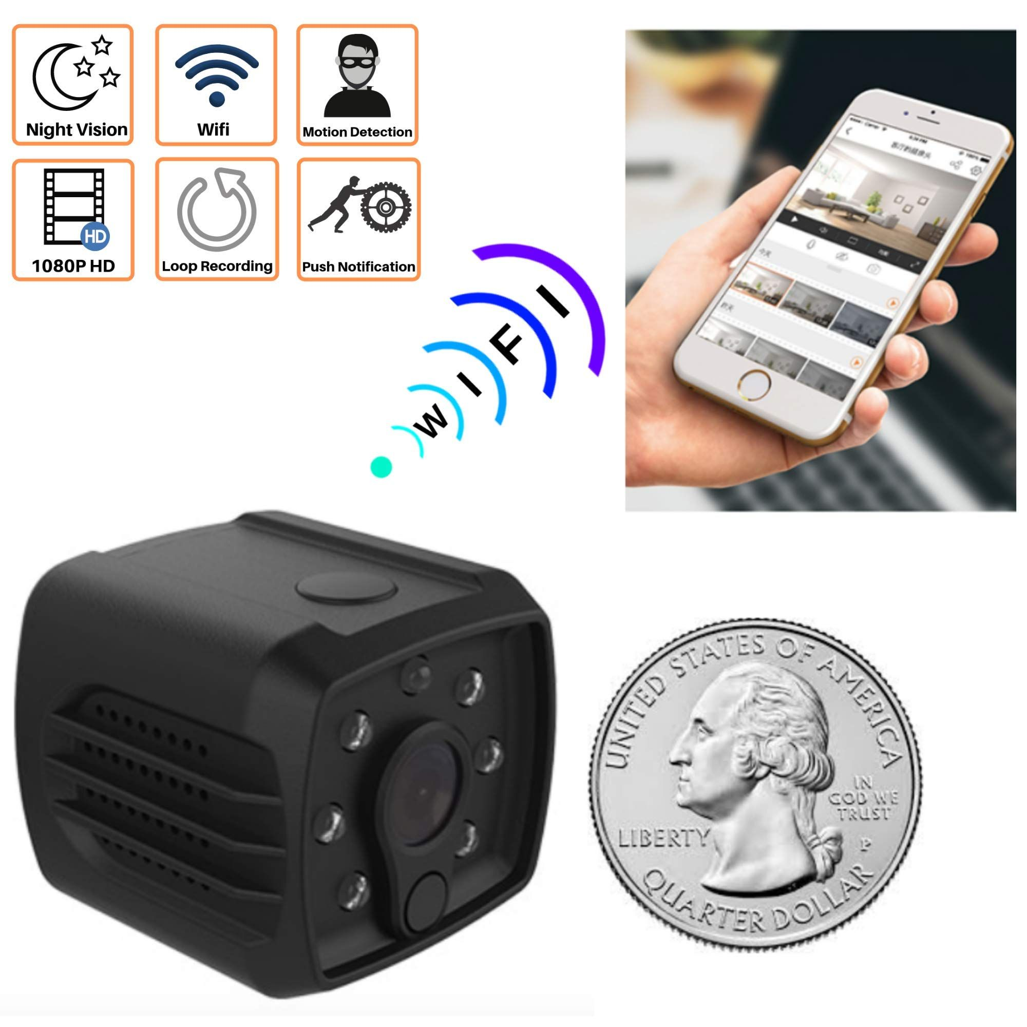Mini Spy Camera WiFi Hidden Nanny Cam for Home Security