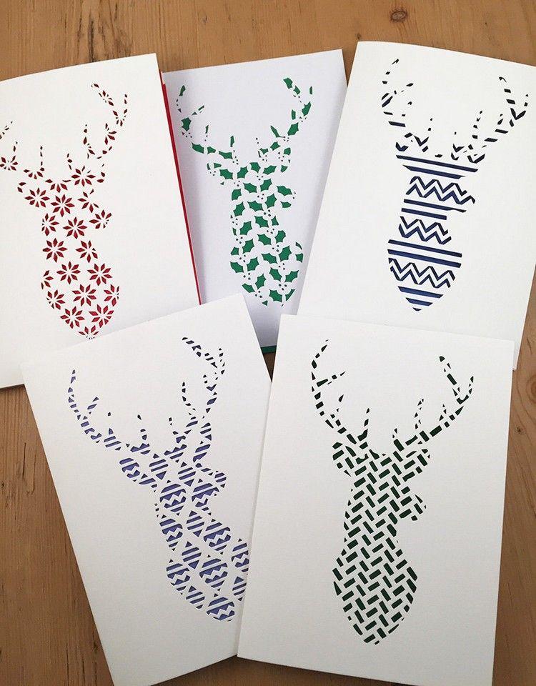 weihnachtskarten basteln scherenschnitt rentier motive #bastelideen ...