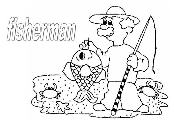 An Old Fisherman Coloring Page Coloring Sky Coloring Pages Old Fisherman Fisherman