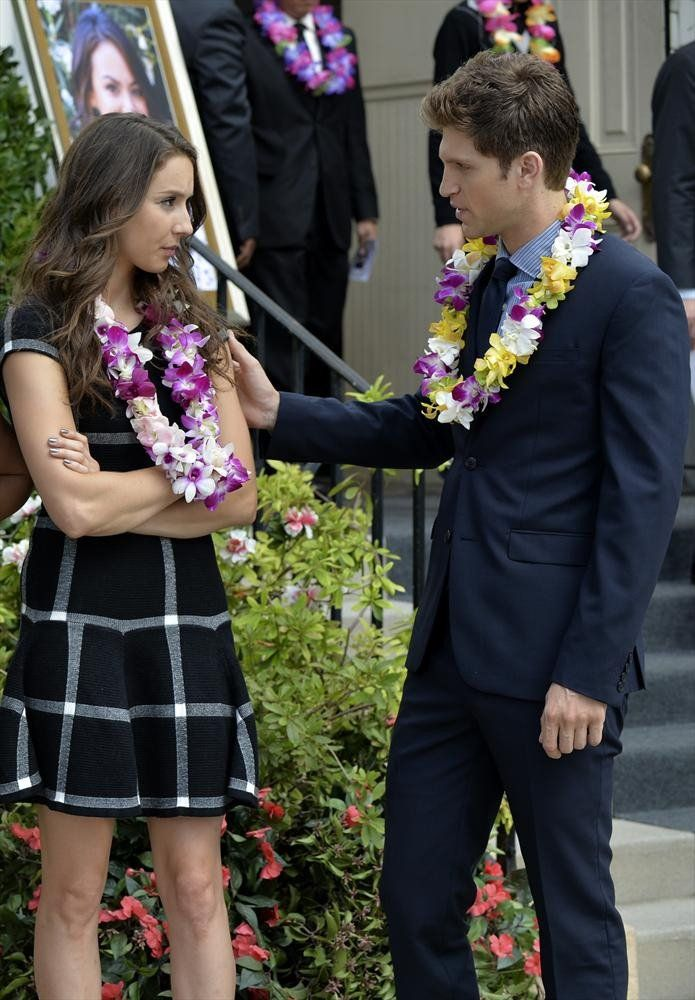 Pin for Later: The Killer Outfits on Pretty Little Liars Will Haunt You All Week Long Season 5 Toby, comforting Spencer in a nice blue suit. Source: ABC Family
