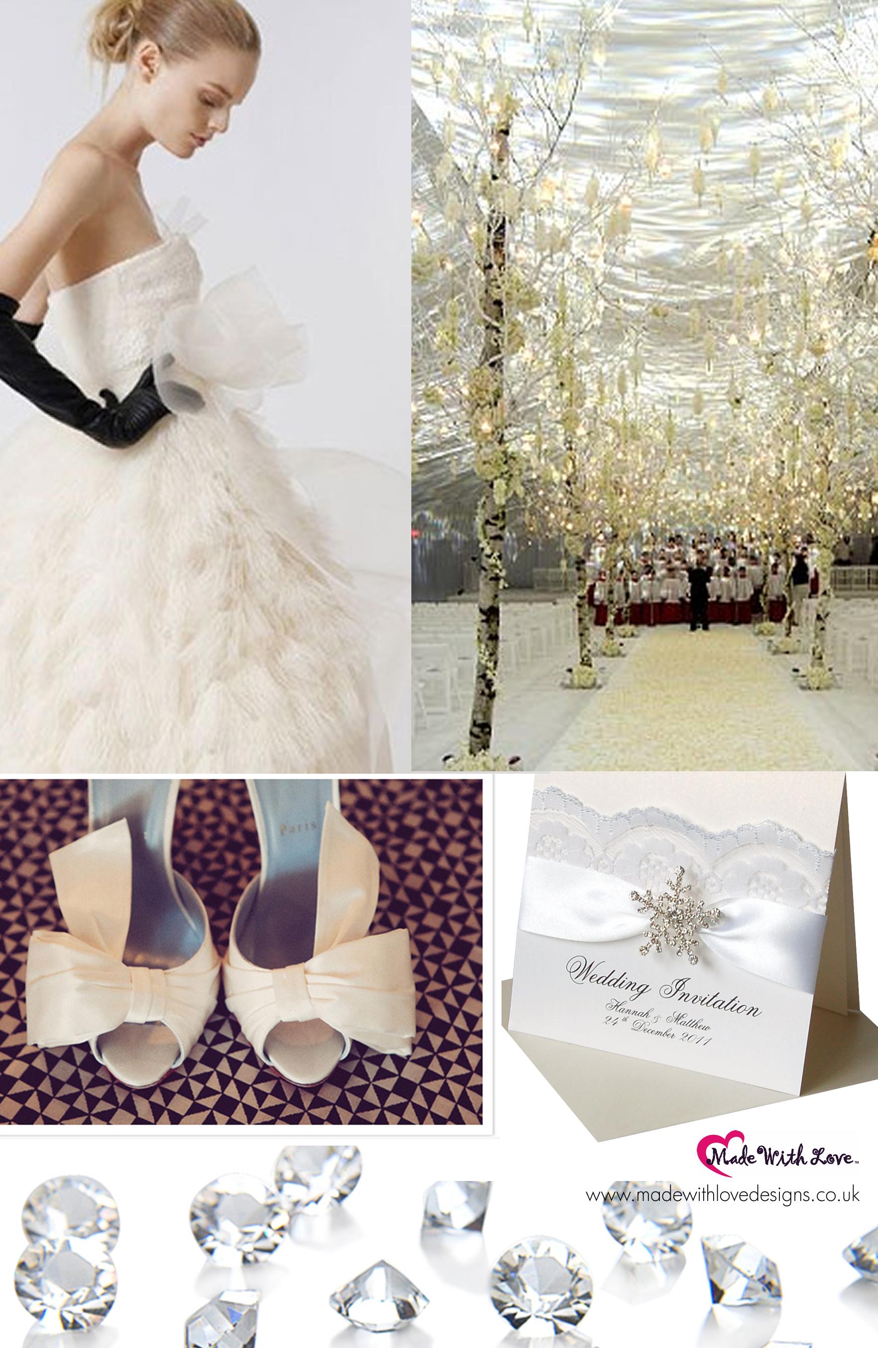 Winter Wedding Invitations Snowflake Crystal Winter weddings