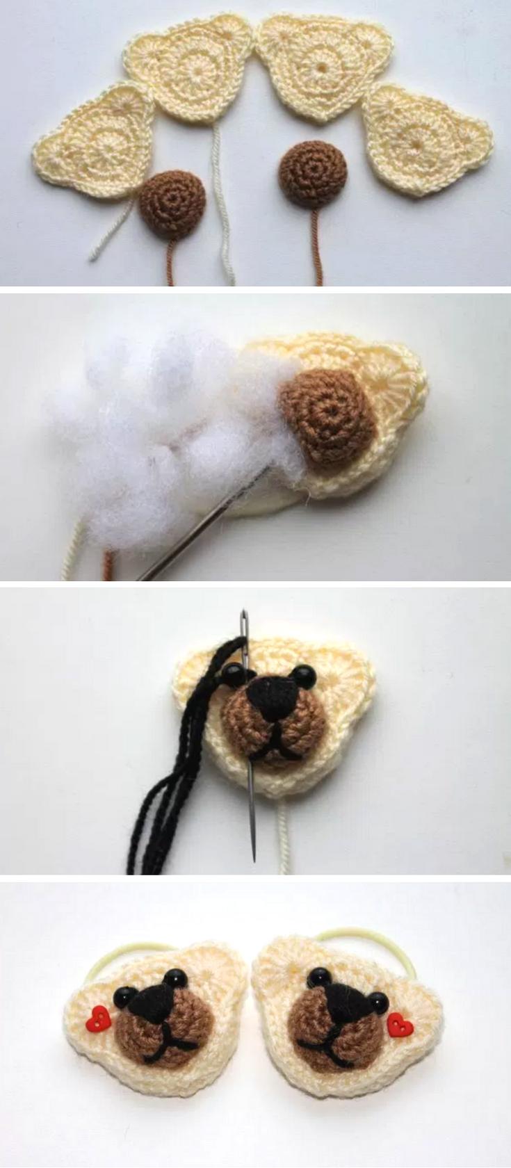 Crochet bear hair ties – free pattern | tejidos | Pinterest | Tejido