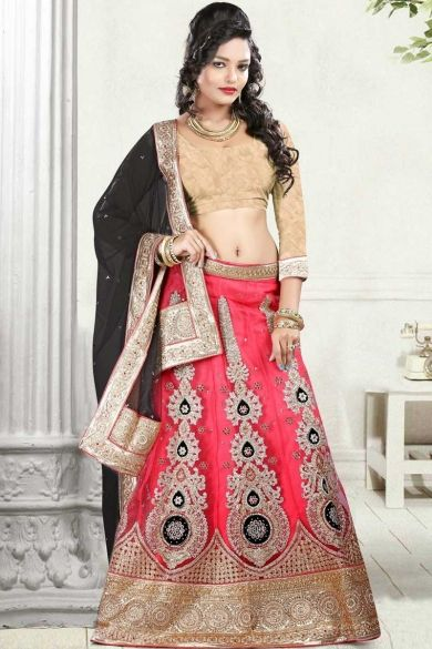 Peach Yellow and #Dark Pink Net Embroidered #BridalLehenga Choli Sku Code:383-5118LL75276 US $ 227.00 http://www.sareez.com/product_info.php?products_id=163337