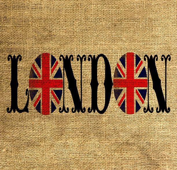 LONDON Union Jack Vintage Font - Download and Print - Image Transfer - Digital Sheet by Room29 - Sheet no. 613. $3.00, via Etsy.