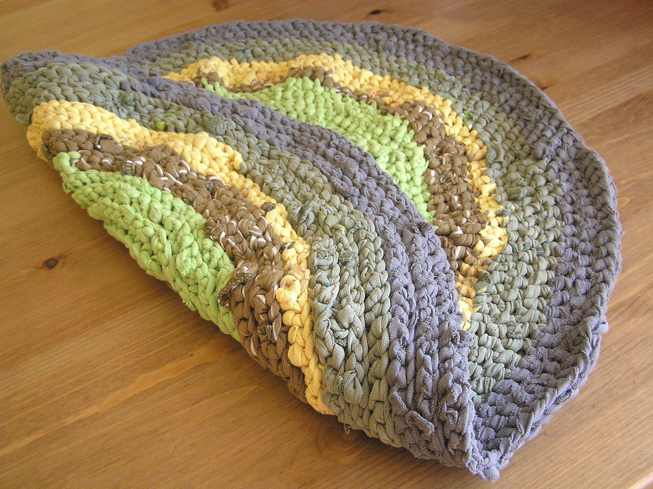 Play Mat, Small Rag Rug, Yellow Green Small Round Crochet Cat Cat Mat,