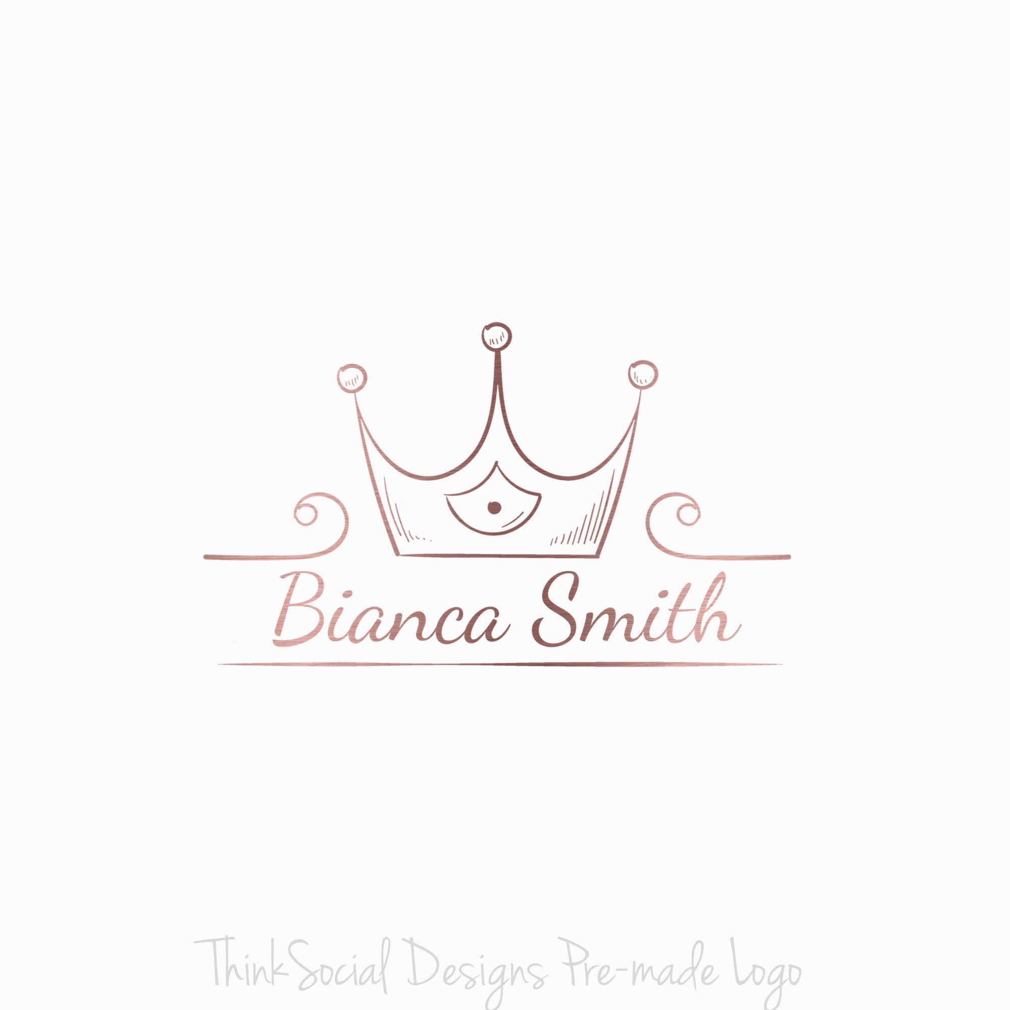 Premade Logo Rose Gold Logo Crown Logo Tiara Logo Business Logo Boutique Logo Feminine Logo Photography Log Rose Gold Logo Custom Logo Design Crown Logo