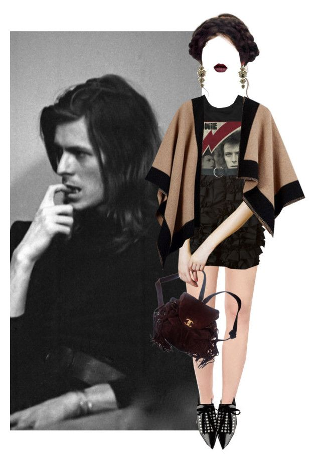 """""""Rip David Bowie II"""" by hanye ❤ liked on Polyvore featuring Alice + Olivia, Givenchy, Ziggy, Comme des Garçons, M&Co, Chanel, women's clothing, women's fashion, women and female"""