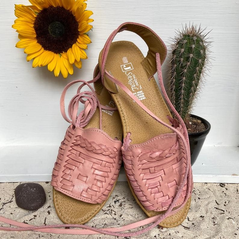Pink Lace up Huarache Sandal. Open Toe