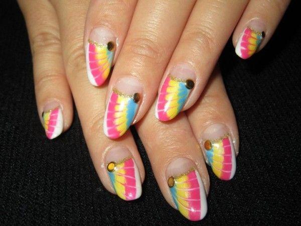 Neon Peacock Gel Nails