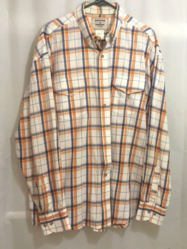 2cda1a8a Wrangler-Painted-Desert-Shirt-Size-XL-Long-Sleeve-Plaid-Orange-Blue-White