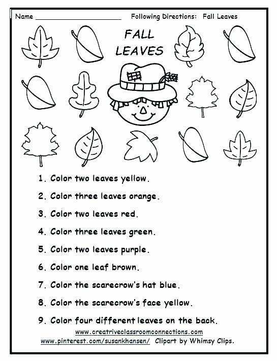 Direction Worksheets For Kindergarten