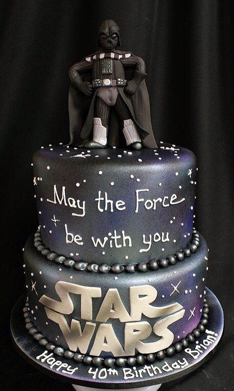 Pleasant Awesome Darth Vader 40Th Birthday Cake Star Wars Birthday Cake Birthday Cards Printable Trancafe Filternl