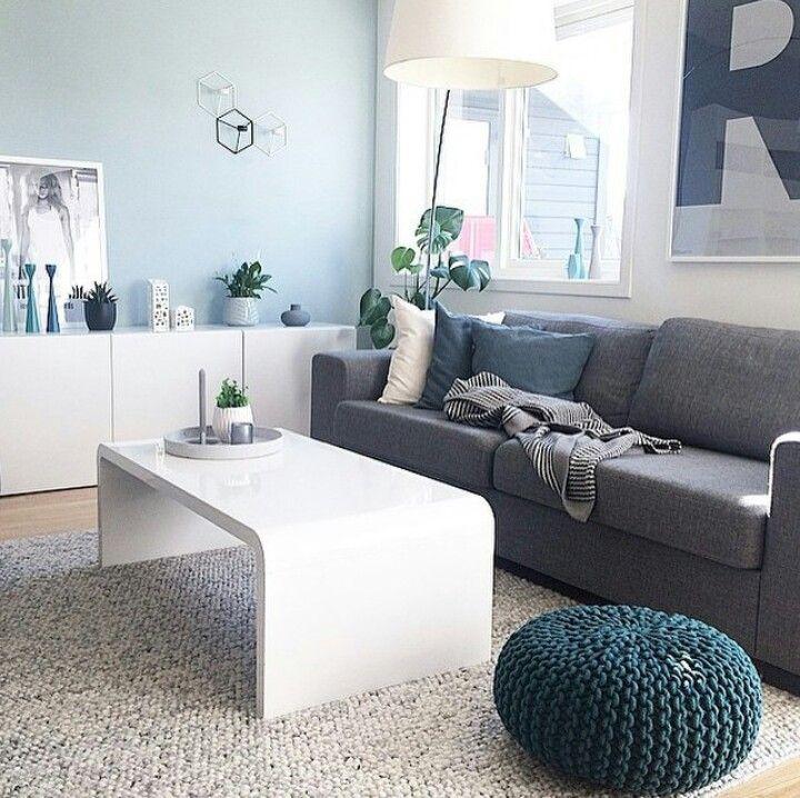 Mur Bleu Ciel Salon Scandinave