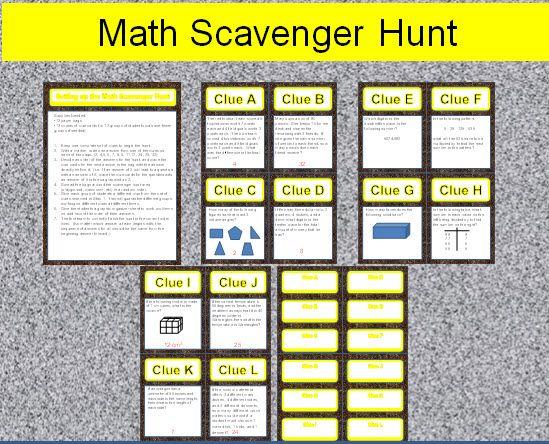 4th Grade Math Review Problem Solving Scavenger Hunt