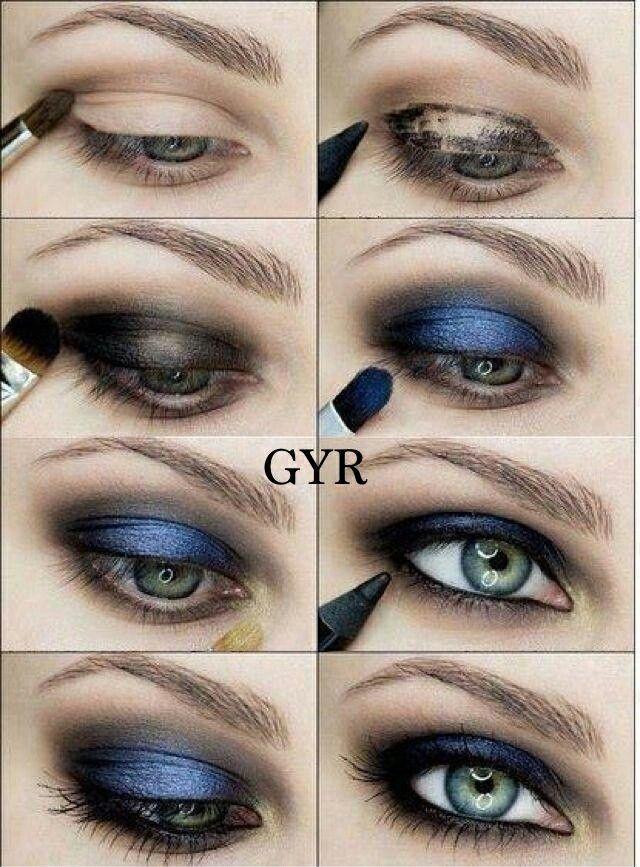 10 Maquillaje azul con negro