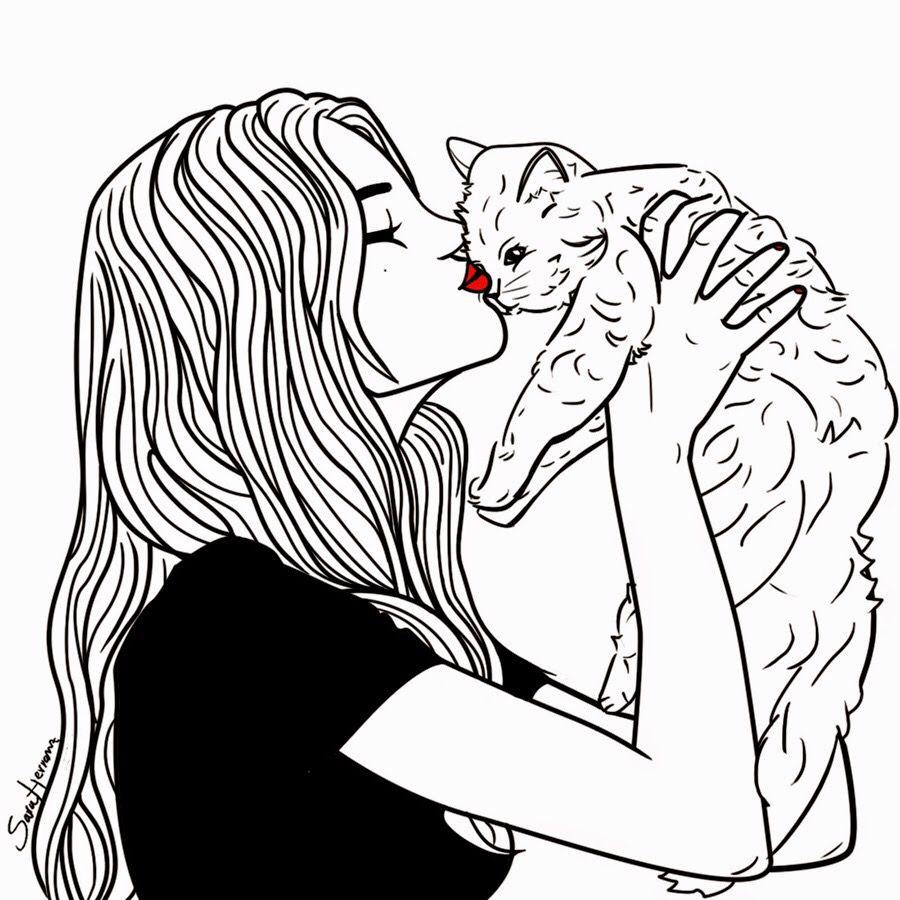 Картинки девушек животных для срисовки