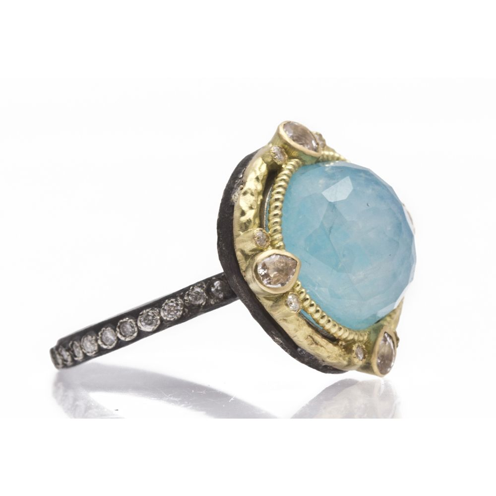 Round Blue Turquoise Doublet and Diamond Ring Enhancer