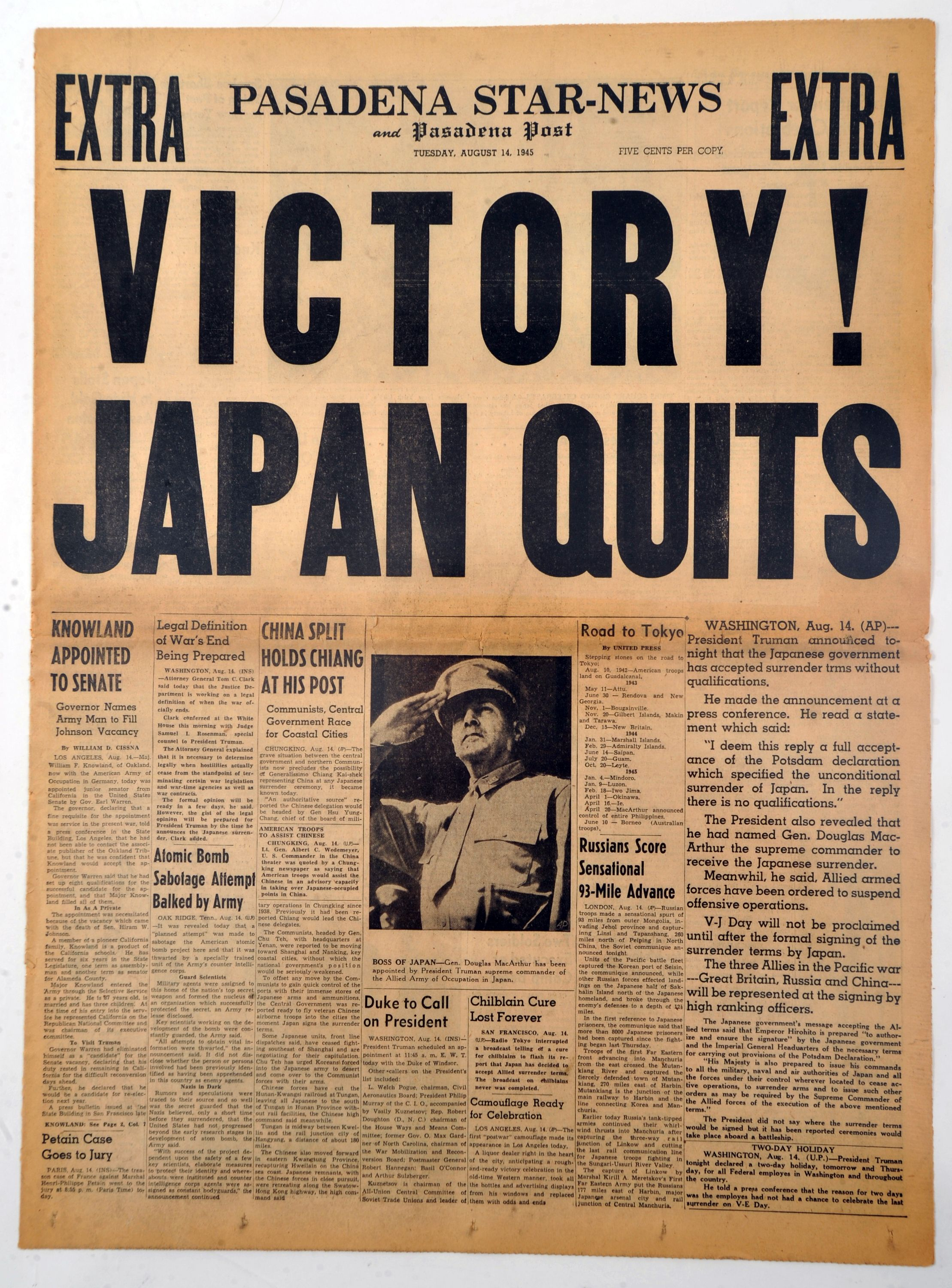 The Front Page On The Day Japan Surrendered Wwii To The Allied Forces