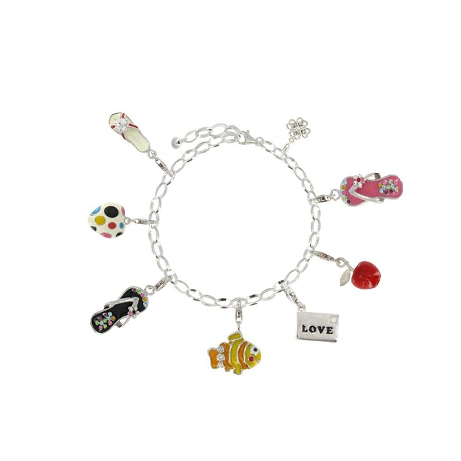 Les Poulettes Jewels Charms Bracelet 925 Sterling Silver - 7.5 Inch 9b4C9glP