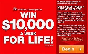 5 000 a week for life sweepstakes