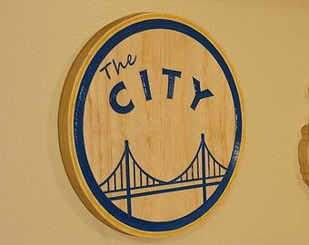 49b8b45d589 Custom Handmade Wood Sign - Golden State Warriors - The City - Vintage -  Carved Wood