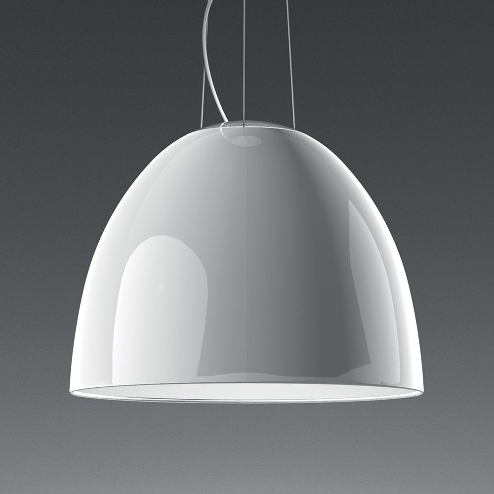 Suspension lamp in painted anthracite grey aluminium with halogen