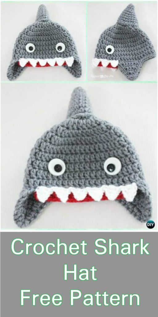 Shark Hat - Crochet Free Pattern | Shark | Pinterest | Gorros, Bebe ...