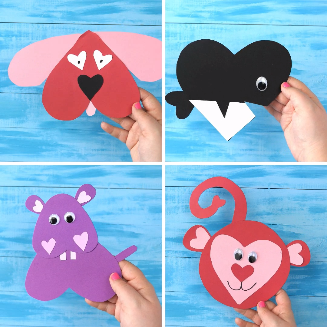 Crafts For Dog Lovers: Heart Shape Animal Crafts For Kids. Valentines Day Crafts