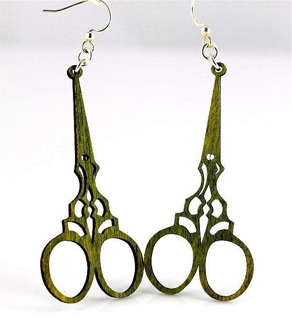 Scissors - Wooden Earrings | Adornments