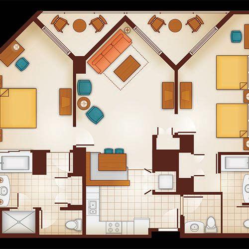Display Larger Version Of Floor Plan Of A 2 Bedroom Villa With Images Aulani Disney Hotel Orlando 2 Bedroom Apartment Floor Plan